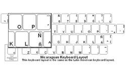 Nicaraguan (Spanish) Language Keyboard Labels
