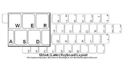 Uzbek (Latin) Language Keyboard Labels