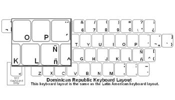 Dominican Republic (Spanish) Language Keyboard Labels