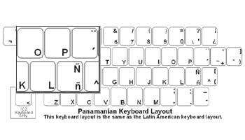 Panamanian (Spanish) Language Keyboard Labels