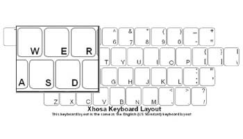 Xhosa (IsiXhosa) Language Keyboard Labels